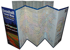 The Baseball Travel Map folds like an accordion
