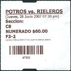 Tijuana Potros ticket stub - price listed in pesos