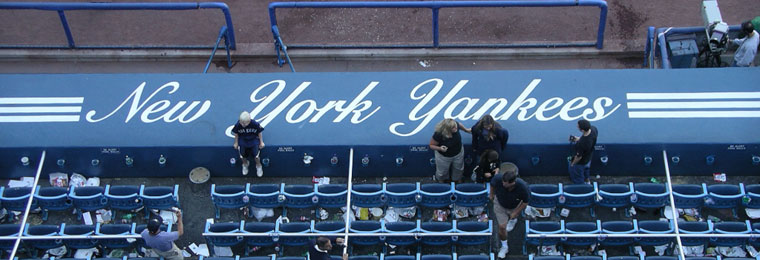 Yankee Stadium mural with Yankees logos
